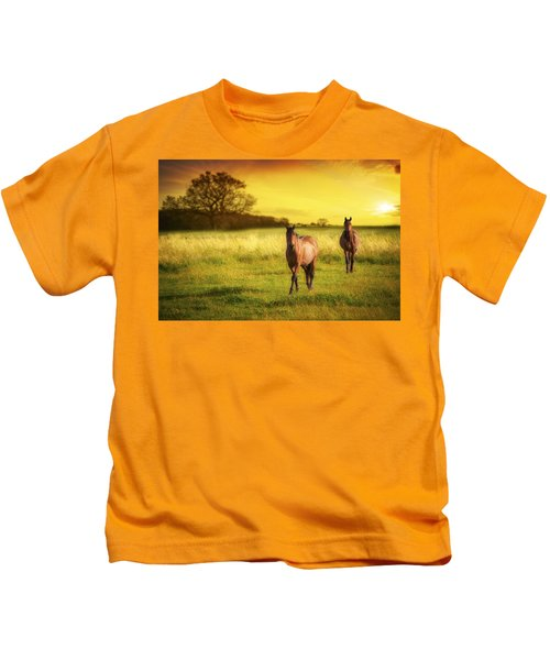 Horses At Sunset Kids T-Shirt