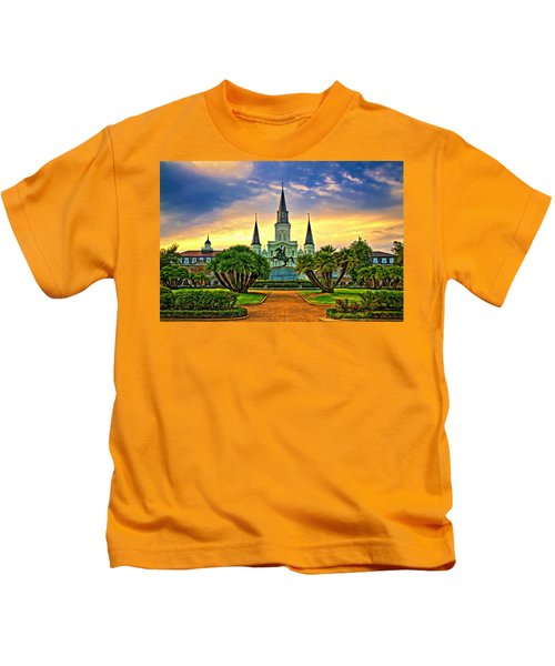 Jackson Square Evening - Paint Kids T-Shirt