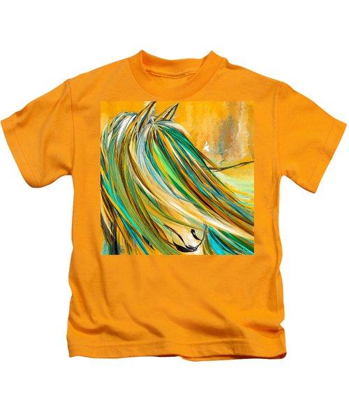 Joyous Soul- Yellow And Turquoise Artwork Kids T-Shirt