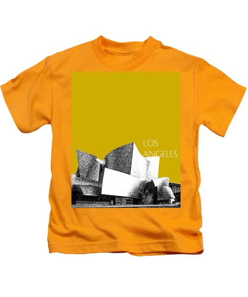 Los Angeles Skyline Disney Theater - Gold Kids T-Shirt