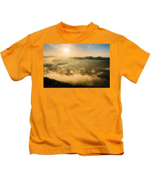 Morning Fog In The Saxon Switzerland Kids T-Shirt