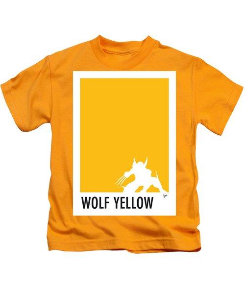My Superhero 05 Wolf Yellow Minimal Poster Kids T-Shirt