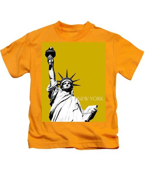 New York Skyline Statue Of Liberty - Gold Kids T-Shirt