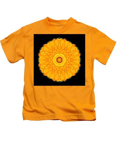 Orange Nasturtium Flower Mandala Kids T-Shirt