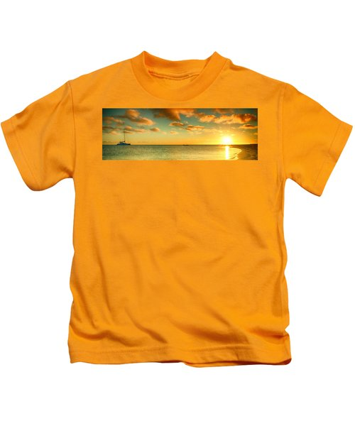 Panoramic Photo Sunrise At Monky Mia Kids T-Shirt