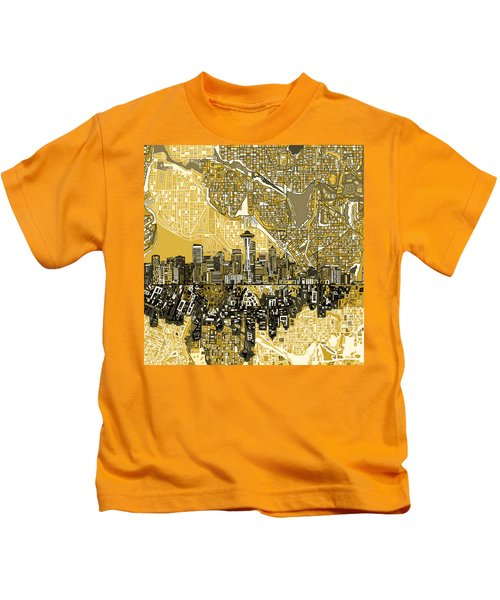 Seattle Skyline Abstract 2 Kids T-Shirt
