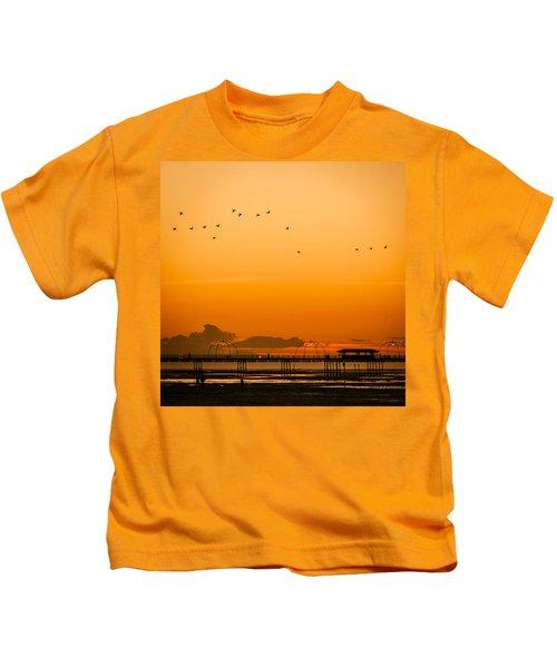 Southport Pier At Sunset Kids T-Shirt