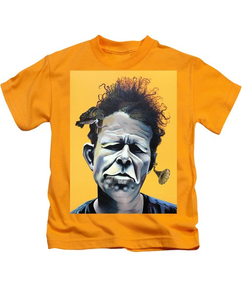 Tom Waits - He's Big In Japan Kids T-Shirt by Kelly Jade King