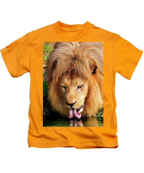 Lion Drinking Kids T-Shirt