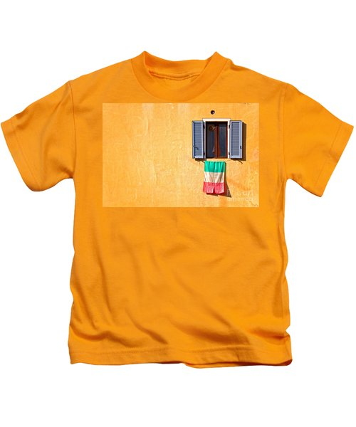 Italian Flag Window And Yellow Wall Kids T-Shirt