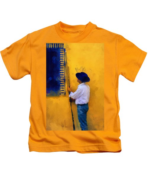 Spanish Man At The Yellow Wall. Impressionism Kids T-Shirt