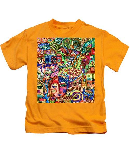-talavera Harmony Cat Garden Kids T-Shirt