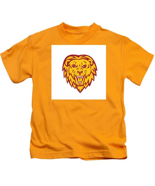 Angry Lion Big Cat Head Roar Kids T-Shirt