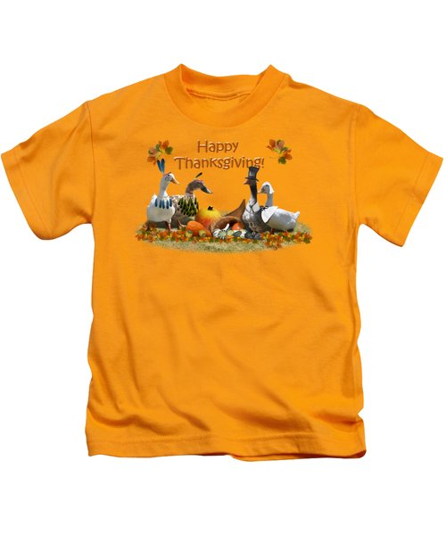 Thanksgiving Ducks Kids T-Shirt by Gravityx9 Designs