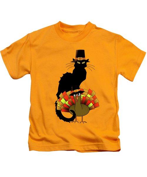Thanksgiving Le Chat Noir With Turkey Pilgrim Kids T-Shirt by Gravityx9   Designs