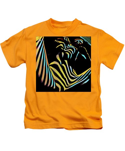 1149s-ak Dramatic Zebra Striped Woman Rendered In Composition Style Kids T-Shirt