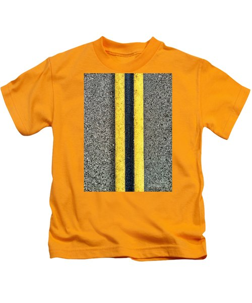 Double Yellow Road Lines Kids T-Shirt