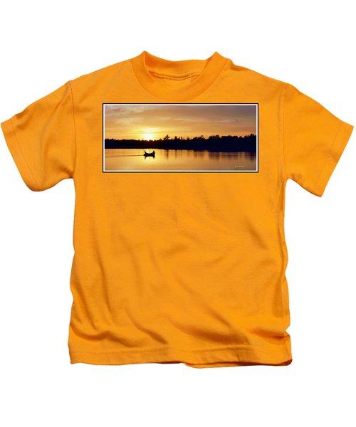 Fishermen On A Lake At Sunset Kids T-Shirt