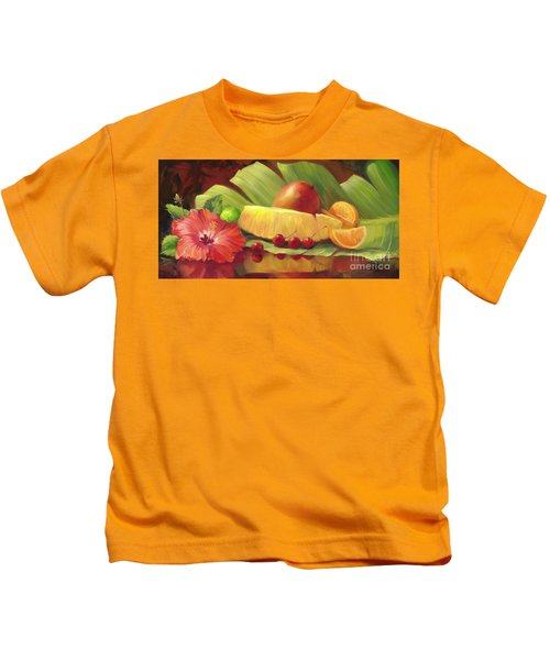 4 Cherries Kids T-Shirt by Laurie Hein