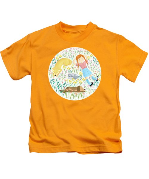 Summer Afternoon With Dogs, Cats And Clouds Kids T-Shirt