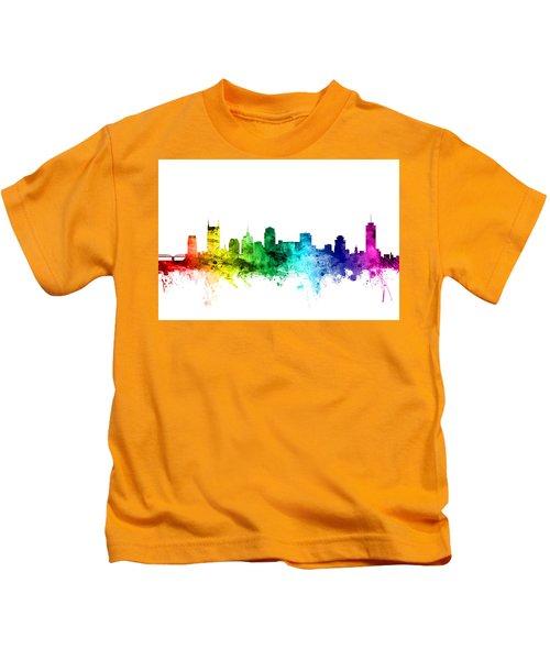 Nashville Tennessee Skyline Kids T-Shirt by Michael Tompsett