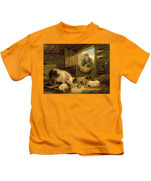 A Boy Looking Into A Pig Sty Kids T-Shirt