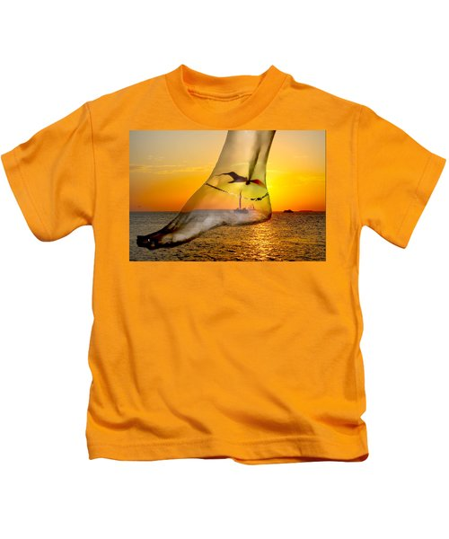 A Foot In The Sunset Kids T-Shirt