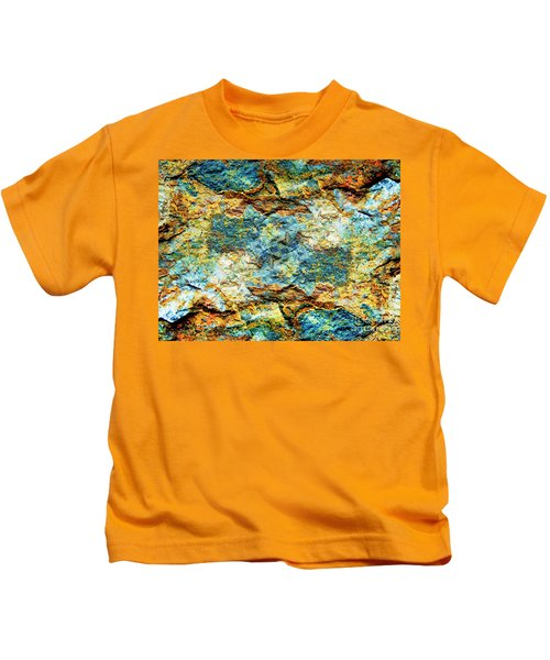 Abstract Nature Tropical Beach Rock Blue Yellow And Orange Macro Photo 472 Kids T-Shirt