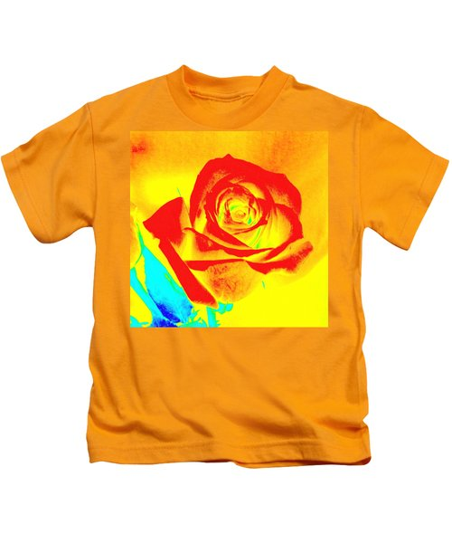 Single Orange Rose Abstract Kids T-Shirt