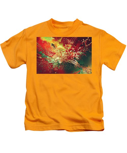 Kids T-Shirt featuring the painting Abstract Space by Tithi Luadthong