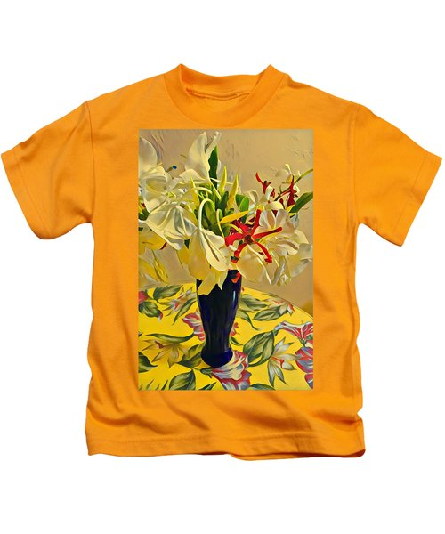 Aloha Bouquet Of The Day - White Gingert With Red Orchids - A New Hue Kids T-Shirt