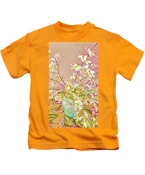 Aloha Bouquet Of The Day - White Orchids In Pink Kids T-Shirt