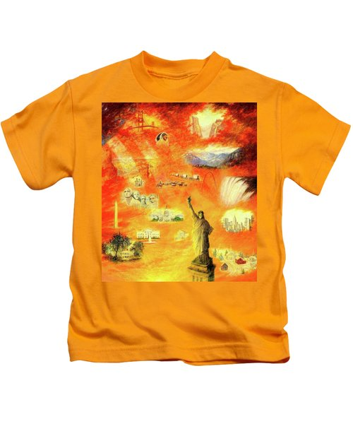 America At Sunset  Kids T-Shirt