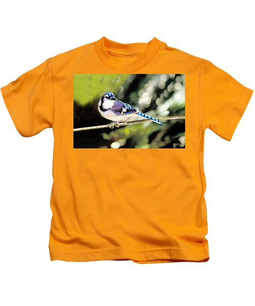 American Blue Jay On Alert Kids T-Shirt