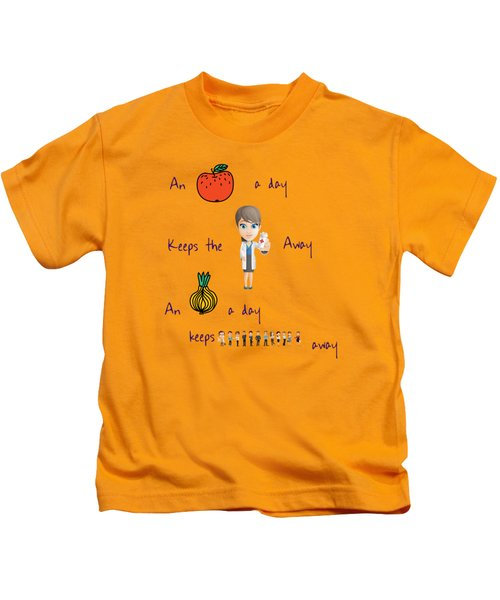 An Apple A Day Kids T-Shirt by Humorous Quotes