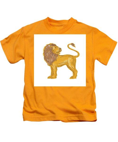 Angry Lion Big Cat Roaring Drawing Kids T-Shirt