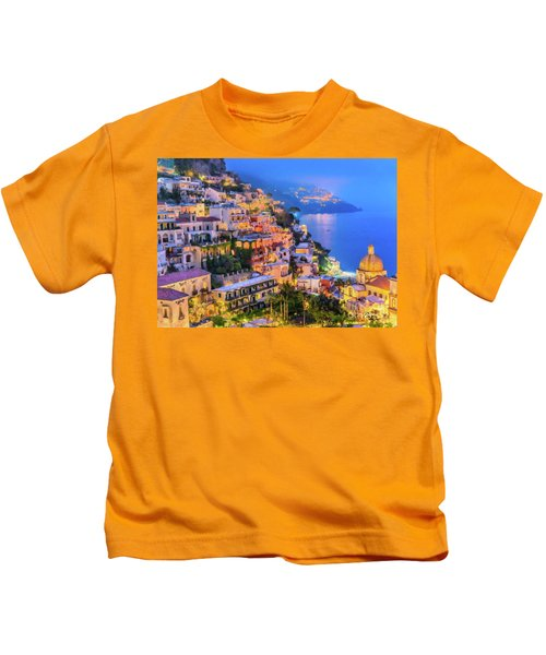 Another Glowing Evening In Positano Kids T-Shirt