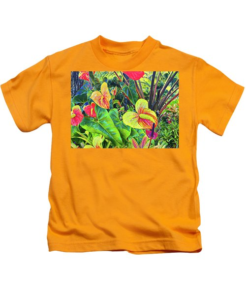 Anthuriums Yellow And Red Kids T-Shirt