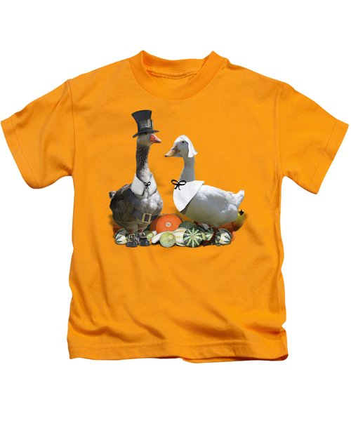 Thanksgiving Pilgrim Ducks Kids T-Shirt