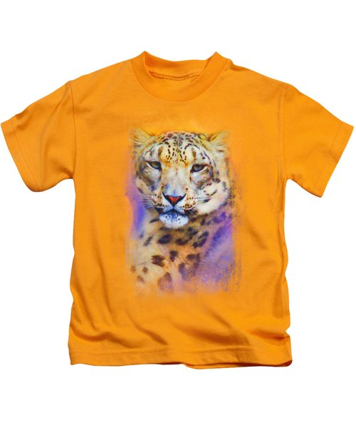 Colorful Expressions Snow Leopard Kids T-Shirt by Jai Johnson