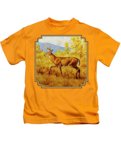 Whitetail Deer In Aspen Woods Kids T-Shirt by Crista Forest