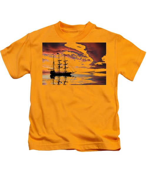 Pirate Ship At Sunset Kids T-Shirt by Shane Bechler