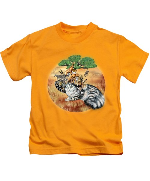 Cat In The Safari Hat Kids T-Shirt by Carol Cavalaris