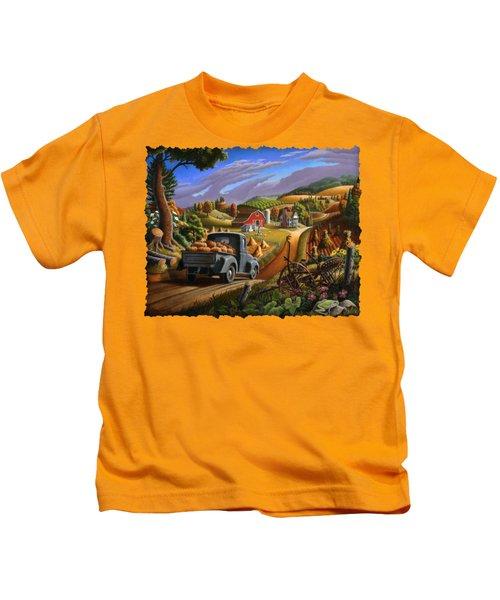 Autumn Appalachia Thanksgiving Pumpkins Rural Country Farm Landscape - Folk Art - Fall Rustic Kids T-Shirt by Walt Curlee