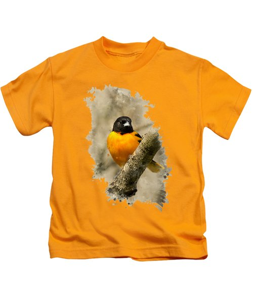 Baltimore Oriole Watercolor Art Kids T-Shirt by Christina Rollo