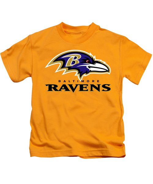 Baltimore Ravens On An Abraded Steel Texture Kids T-Shirt