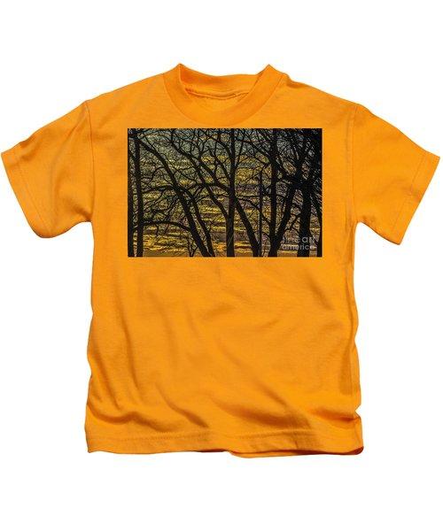 Beautiful Sunset Behind Bare Trees Kids T-Shirt