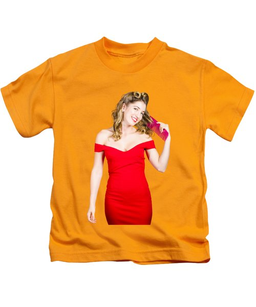 Beautiful Woman With Long Curly Hair And Brush Kids T-Shirt