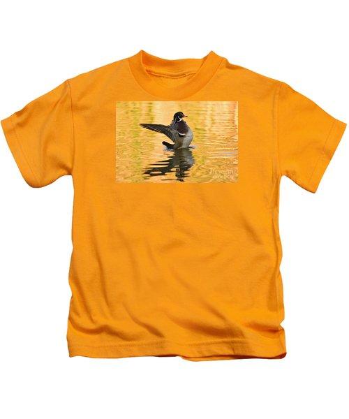 Wood Duck Sunset  Kids T-Shirt