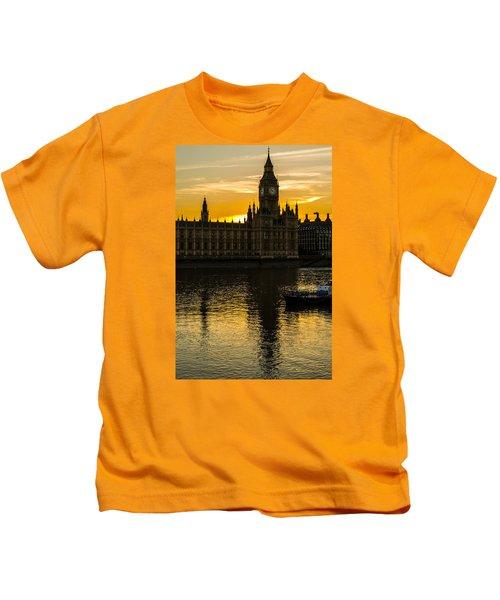 Big Ben Tower Golden Hour In London Kids T-Shirt